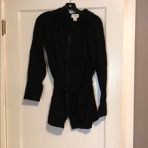 Black Cashmere zip up hoodie with belt